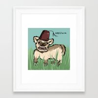 fez Framed Art Prints featuring Badger with a Fez by Cat Graff