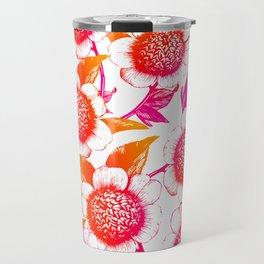 Pink and Orange Flowers Elegant Pattern Travel Mug