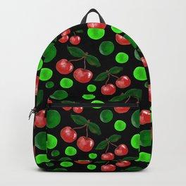 Cherries on Black Backpack