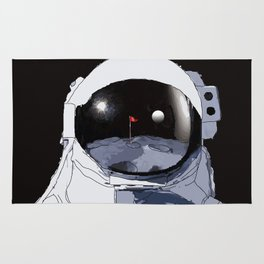 Astronaut Golf Course on the Moon Rug