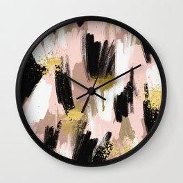 Blush and Gold Abstract Wall Clock