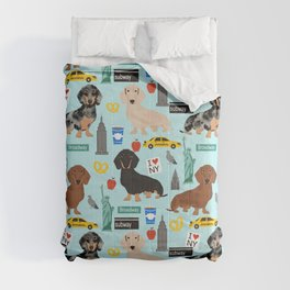 Dachshund dog breed NYC new york city pet pattern doxie coats dapple merle red black and tan Comforters