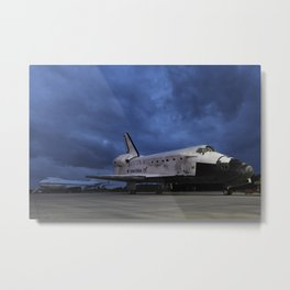 1457. Space Shuttle Discovery onto the back of the Shuttle Carrier Aircraft in the Background Metal Print