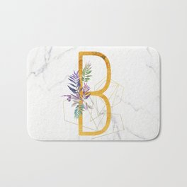 Modern glamorous personalized gold initial letter B, Custom initial name monogram gold alphabet prin Bath Mat