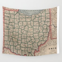 Vintage Map of Ohio (1883) Wall Tapestry