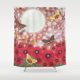 the moon, stars, io moths, & poppies Shower Curtain