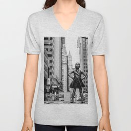 Fearless Girl New York City Unisex V-Neck