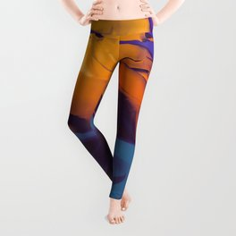 Orange, Purple and Blue Abstract. Mixed Media. Leggings