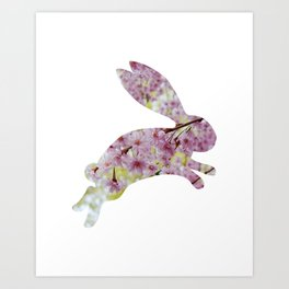 bunny rabbit silhouette floral leaping Art Print