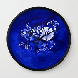 Delft Floral Wall Clock