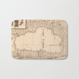 Vintage Map of Lake Tahoe Calfornia (1874) Bath Mat