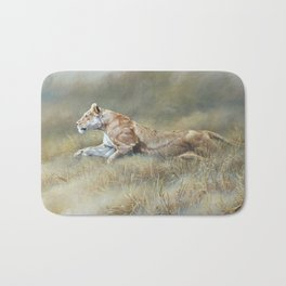 On Target - Lioness by Alan M Hunt Bath Mat