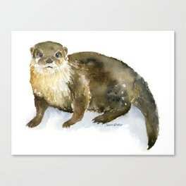 River Otter Watercolor Canvas Print