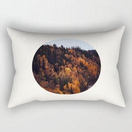 Mid Century Modern Round Circle Photo Graphic Design Autumn Orange Forest Hill Rectangular Pillow