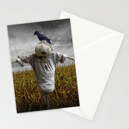 Scarecrow with Black Crows over a Cornfield Stationery Cards