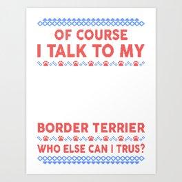 Border Terrier Ugly Christmas Sweater Art Print