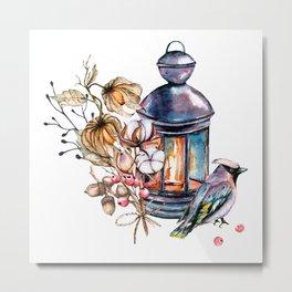 Lantern, candle, candlestick, bird, cotton, physalis. Watercolor hand painting. Metal Print