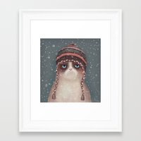 cat coquillette Framed Art Prints featuring Christmas Cat by Lime