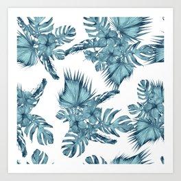 Tropical Palm Leaves Hibiscus Flowers Blue Art Print