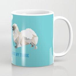 Polygon Tibetan Spaniel Love in Turquoise Coffee Mug