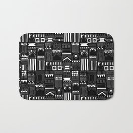 Black and White Stripes and Shapes Pattern Bath Mat