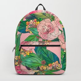 Girly Pink Watercolor Floral Hand Paint Backpack