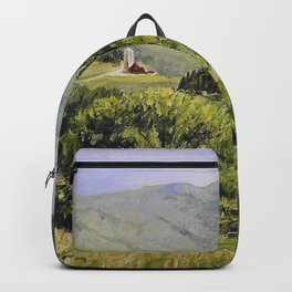 Pastures and Mount Mansfield Oil Landscape Vermont Painting Backpack