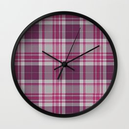 Plum Raspberry Plaid Wall Clock