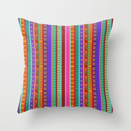 Ethnic Peruvian Motif Striped Pattern Throw Pillow