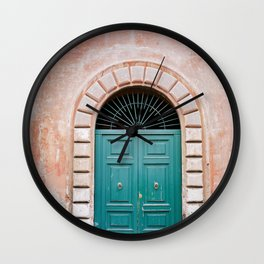 Turquoise Green door in Trastevere, Rome. Travel print Italy - film photography wall art colourful. Wall Clock