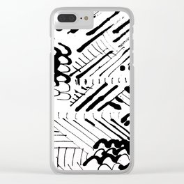 Black and White Ink Abstract Mark Making Pattern Clear iPhone Case