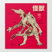 kaiju Canvas Prints featuring Kaiju Anatomy by MeleeNinja