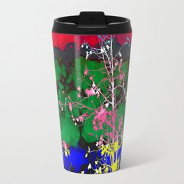 tree branch with leaf and painting texture abstract background in red green blue pink yellow Travel Mug