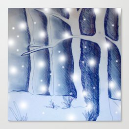 Snow fall in the dark Canvas Print