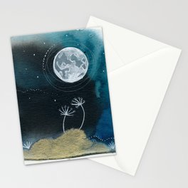 Moon Series #11 Watercolor + Ink Painting Stationery Cards