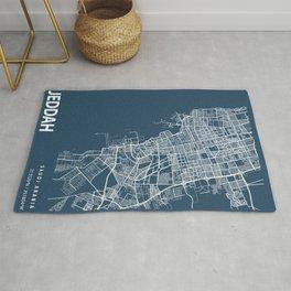 Jeddah Blueprint Street Map, Jeddah Colour Map Prints Rug