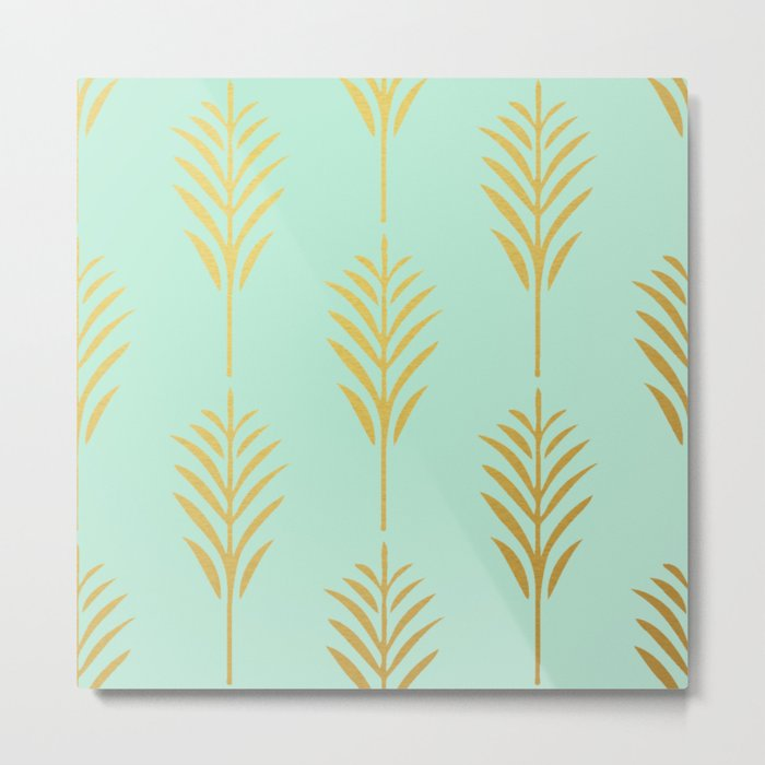 Golden Palm Leaves on Mint Metal Print