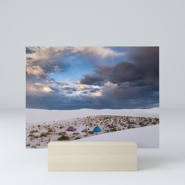 Camping Among the White Sand Dunes in New Mexico Mini Art Print