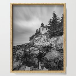 Bass Harbor Lighthouse Black White Print Serving Tray