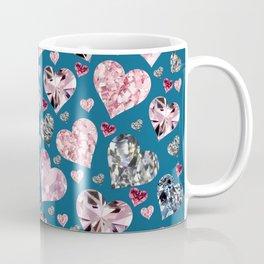 Heart Diamonds are Forever Love Blue Coffee Mug