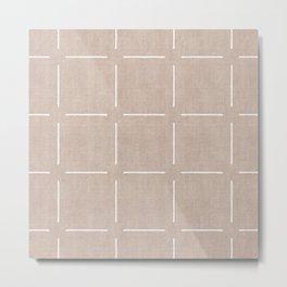 Block Print Simple Squares in Tan Metal Print