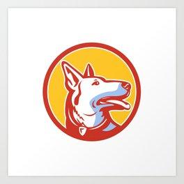 Police Dog Circle Mascot Art Print