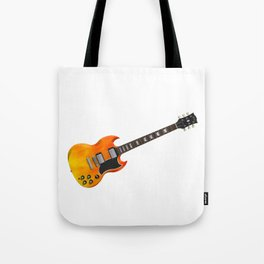 Guitar With Fire Graphics Tote Bag