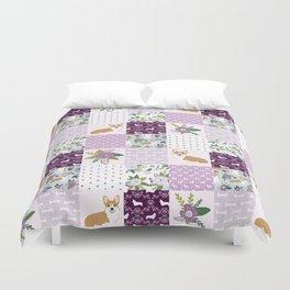 Corgi Patchwork Print - purple ,florals , floral, spring, girls feminine corgi dog Duvet Cover