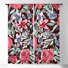 Moody Florals in Watercolor Blackout Curtain