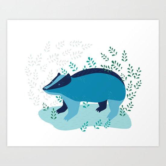 Blue Badger Art Print