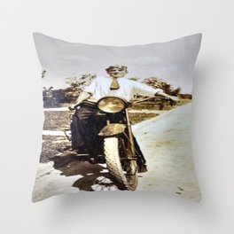 Vintage Early 1900's Motorcycle & Rider Throw Pillow