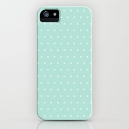 Aqua blue and White cross sign pattern iPhone Case