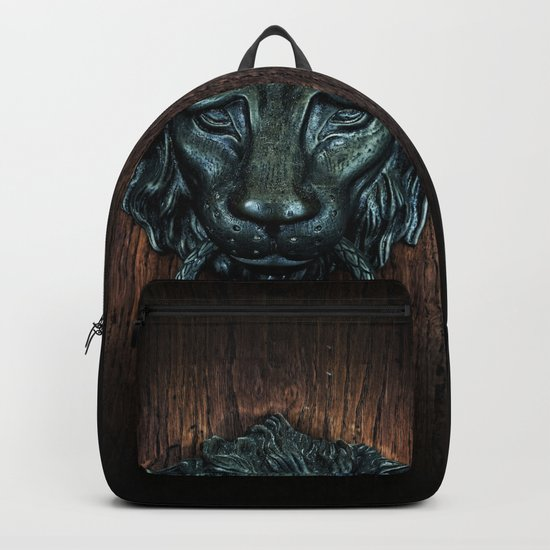 Vintage bronze lion door knocker Backpack