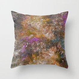 A galactic ocean -Orange- Cosmic Painting Art Throw Pillow